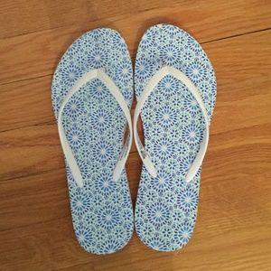 Blue Patterned Flip Flops